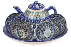 Набор чайный Риштанская Керамика, 9 предметов, синий