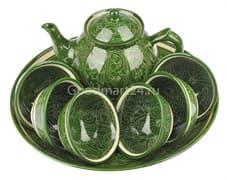 Набор чайный Риштанская Керамика, 9 предметов, зеленый